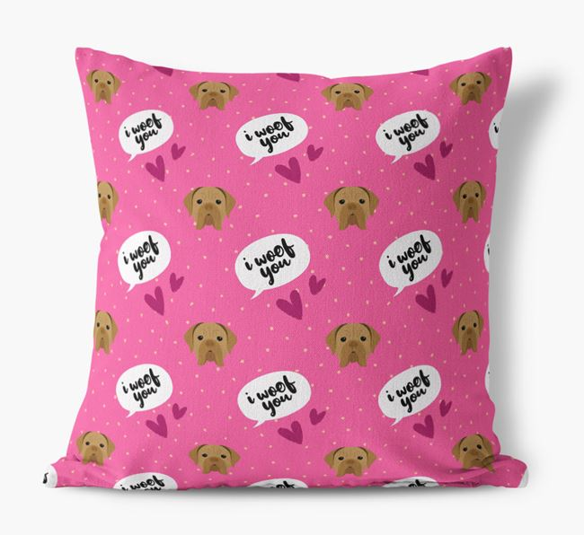 'I Woof You!' Pattern Canvas Pillow with Dogue de Bordeaux Icons