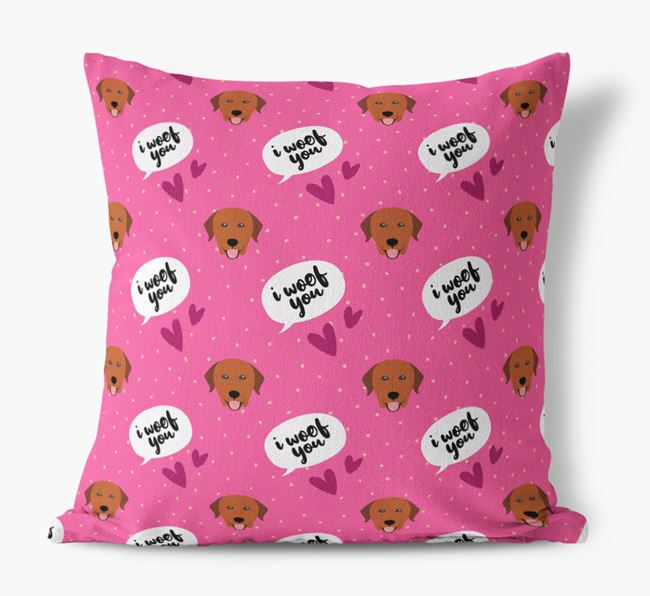 'I Woof You!' Pattern Canvas Pillow with Labrador Retriever Icons