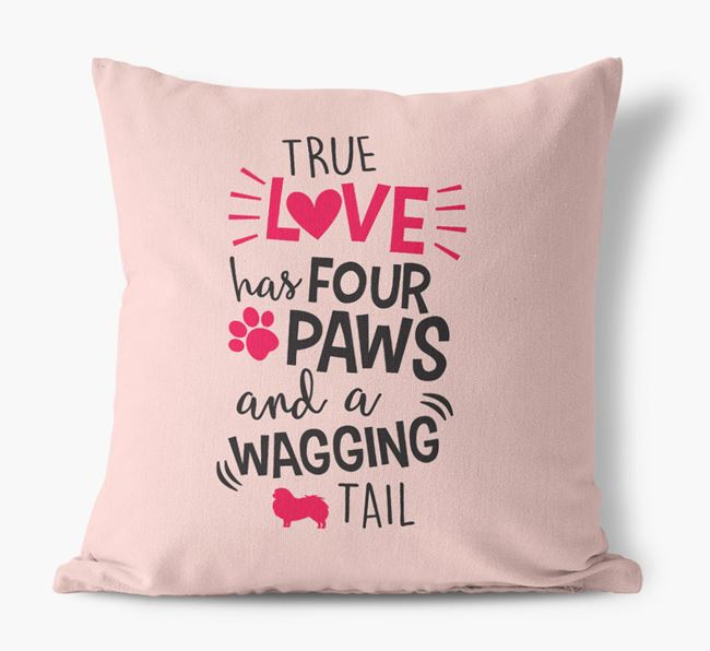 'True Love Has Four Paws and a Wagging Tail' Canvas Pillow with Japanese Chin Silhouette