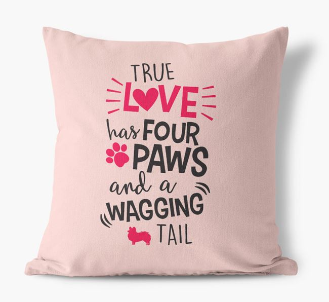 'True Love Has Four Paws and a Wagging Tail' Canvas Pillow with Papillon Silhouette