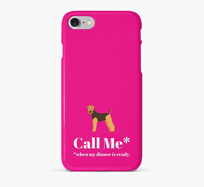 'Call me for Dinner' Phone Case with Airedale Terrier Icon