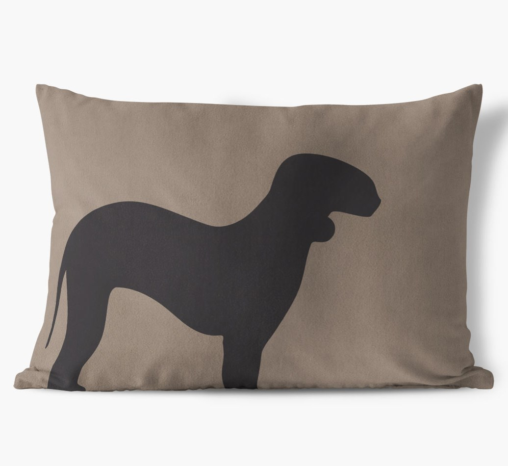 Bedlington Terrier Single Silhouette Faux Suede Cushion in {colour} front view