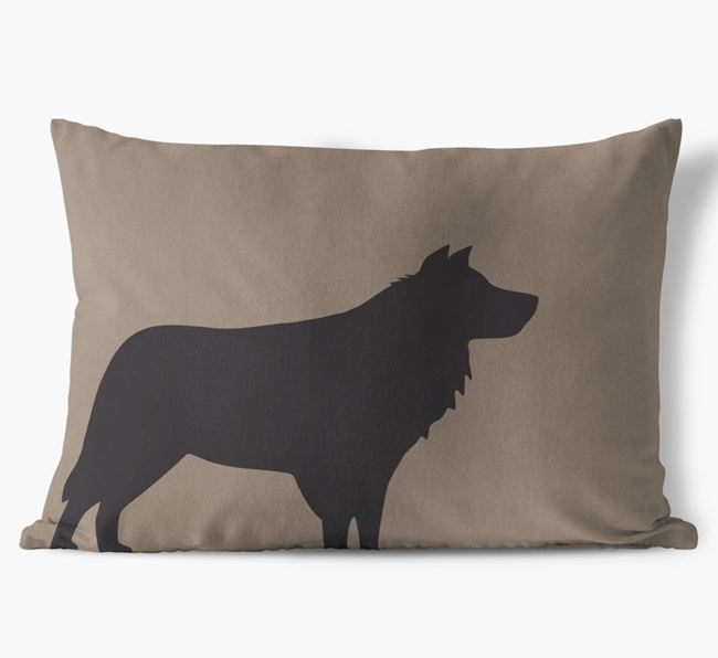 Border Collie Single Silhouette Faux Suede Cushion