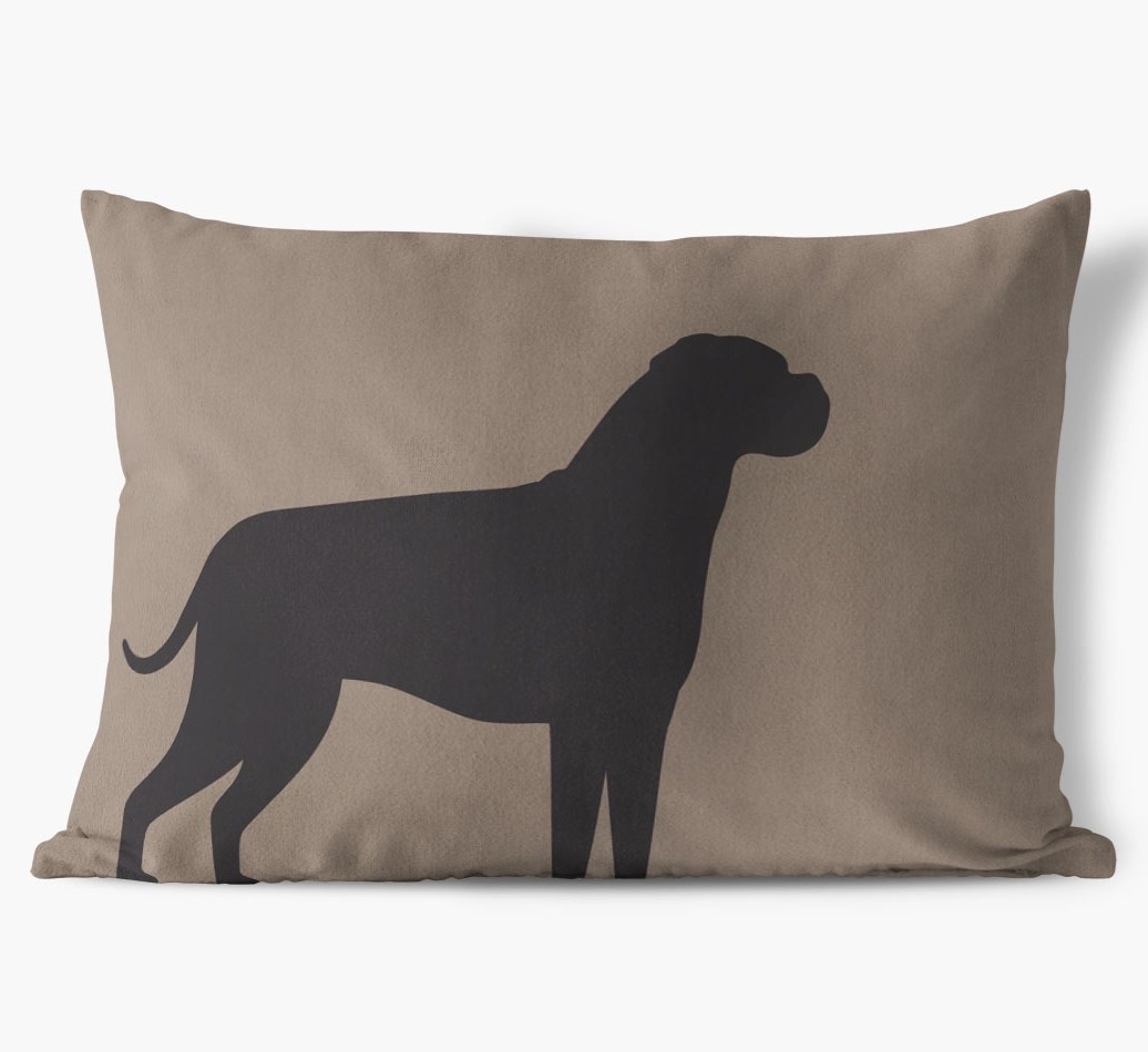 Boxer Single Silhouette Faux Suede pillow in {colour} front view