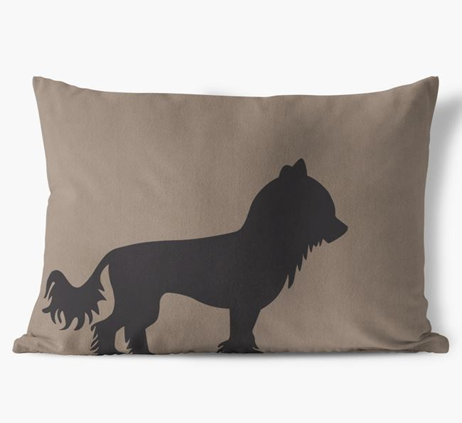 Chinese Crested Single Silhouette Faux Suede Cushion