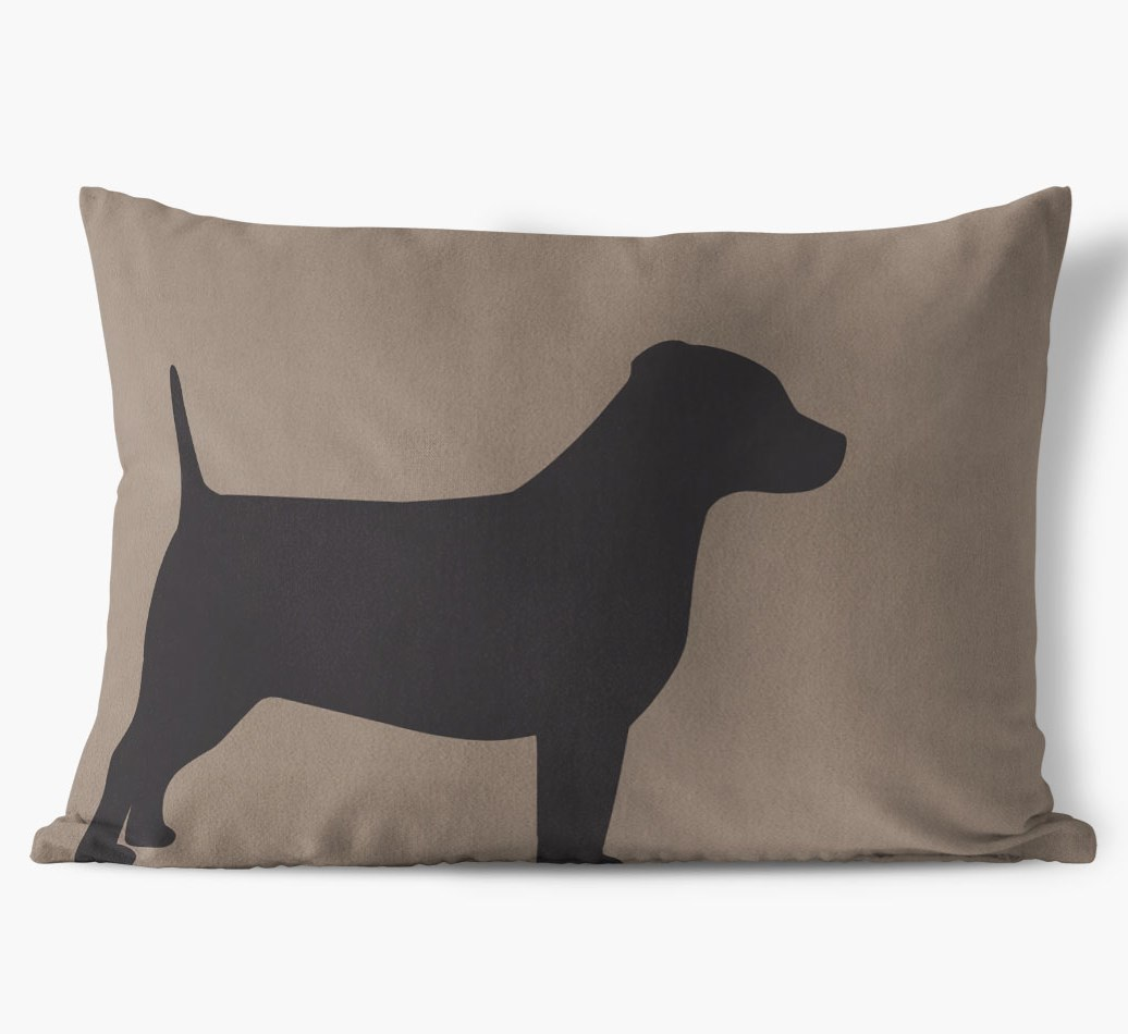 Dog Single Silhouette Faux Suede pillow in {colour} front view