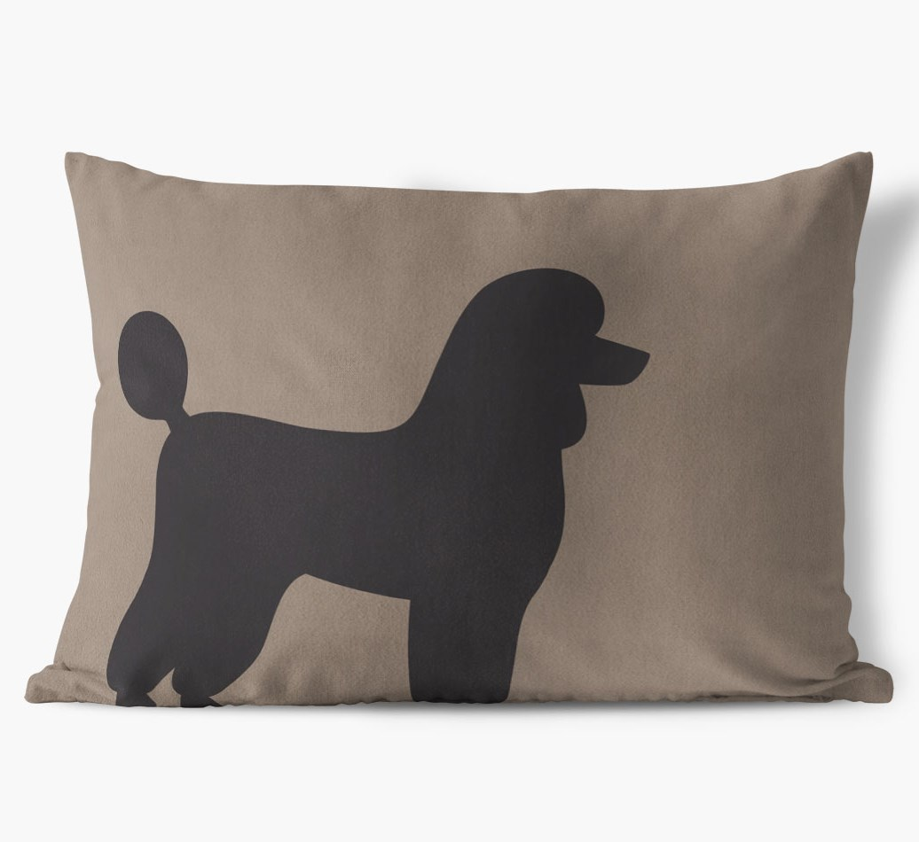 Poodle Single Silhouette Faux Suede pillow in {colour} front view