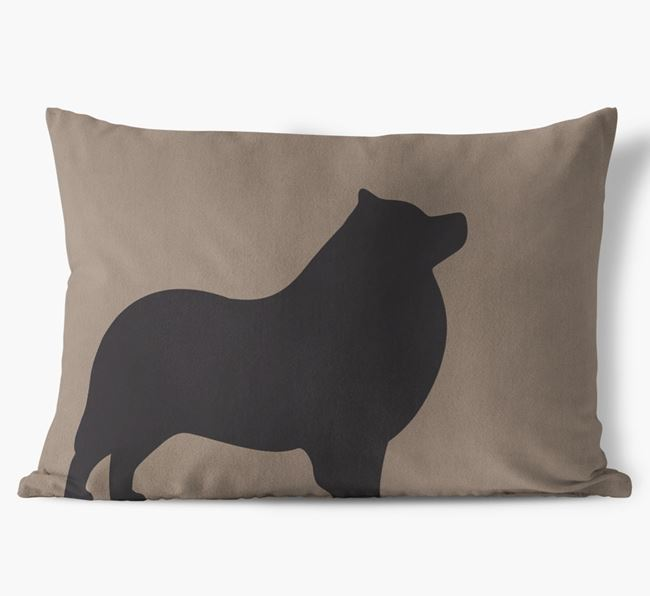 Schipperke Single Silhouette Faux Suede Cushion