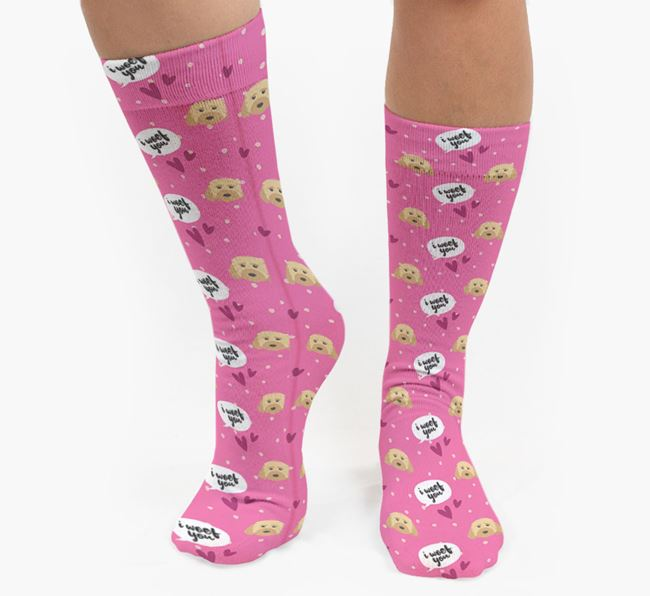 'I Woof You!' Pattern Socks with Dog Icons