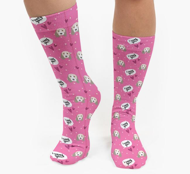'I Woof You!' Pattern Socks with Grand Basset Griffon Vendeen Icons