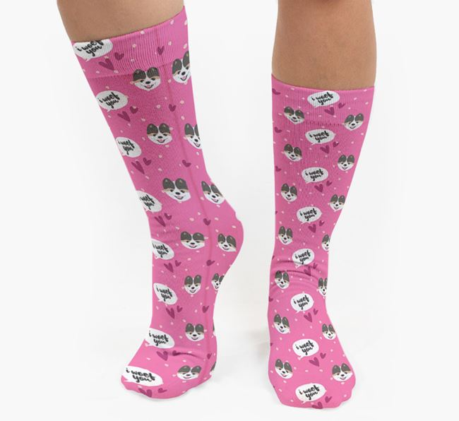 'I Woof You!' Pattern Socks with Pomeranian Icons