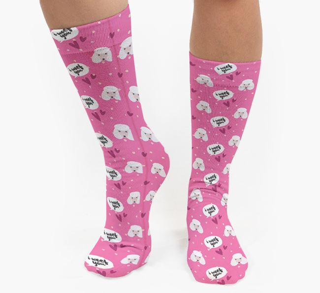 'I Woof You!' Pattern Socks with Poodle Icons