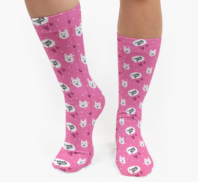 'I Woof You!' Pattern Socks with Tamaskan Icons