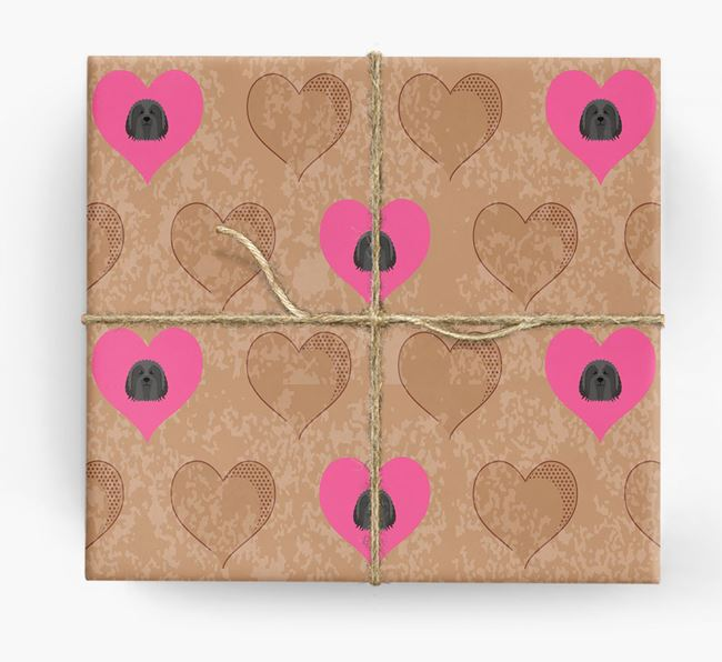 Wrapping Paper with Hearts and Bearded Collie Icons