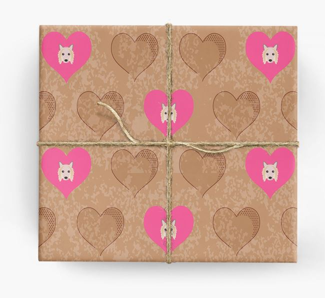 Wrapping Paper with Hearts and Hairless Chinese Crested Icons