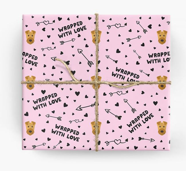 'Wrapped With Love' Wrapping Paper with Airedale Terrier Icons