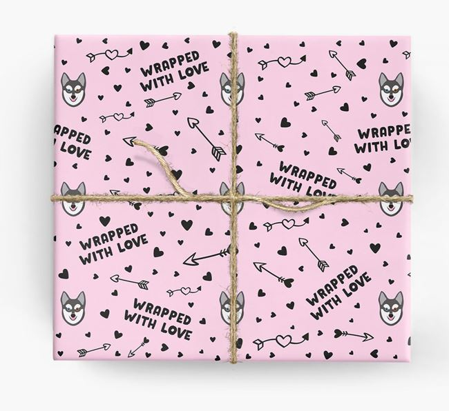 'Wrapped With Love' Wrapping Paper with Alaskan Klee Kai Icons