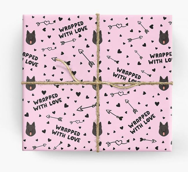 'Wrapped With Love' Wrapping Paper with Belgian Groenendael Icons