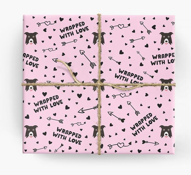 'Wrapped With Love' Wrapping Paper with Border Collie Icons