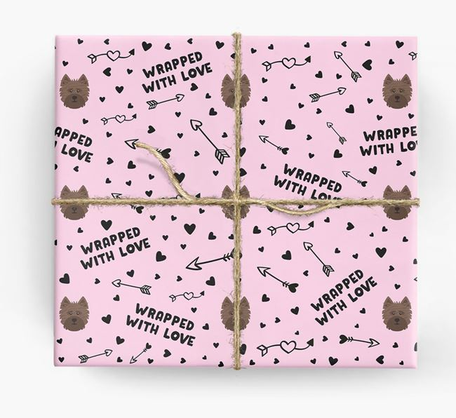 'Wrapped With Love' Wrapping Paper with Cairn Terrier Icons