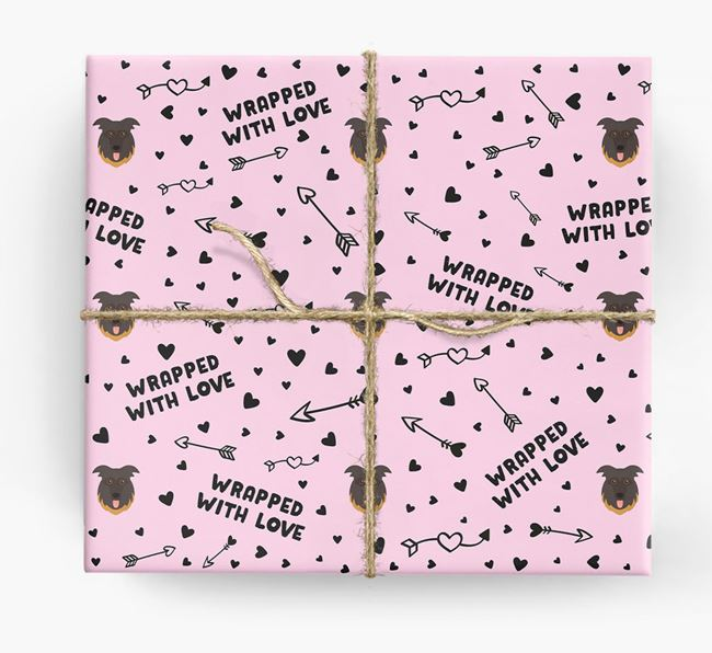 'Wrapped With Love' Wrapping Paper with German Shepherd Icons