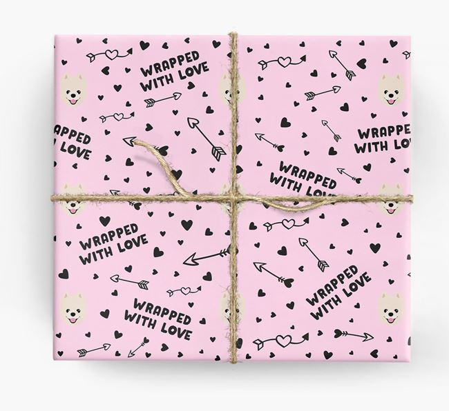 'Wrapped With Love' Wrapping Paper with Pomeranian Icons