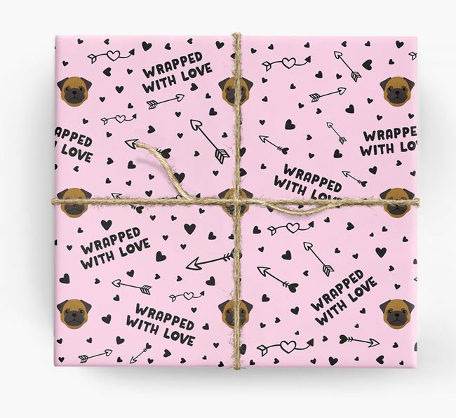 'Wrapped With Love' Wrapping Paper with Pug Icons