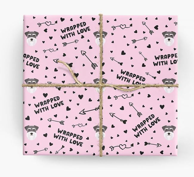 'Wrapped With Love' Wrapping Paper with Schnauzer Icons