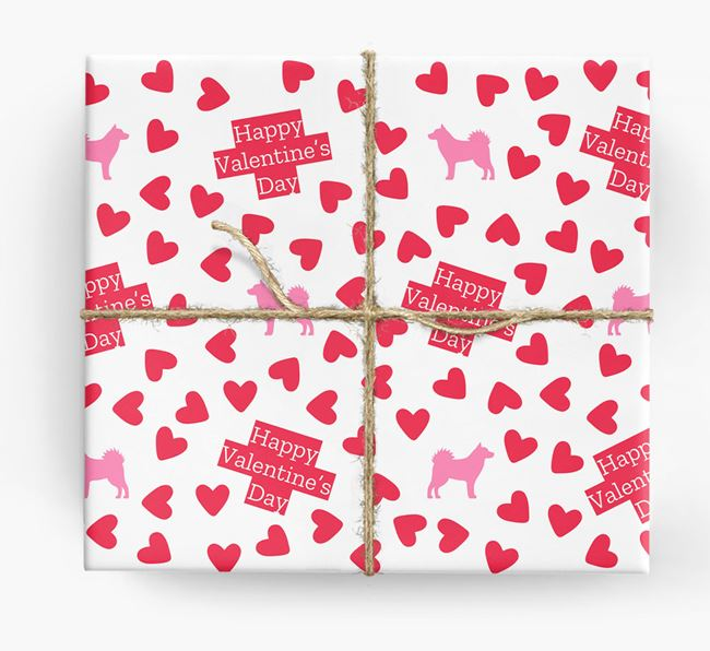 'Happy Valentine's Day' Wrapping Paper with Alaskan Klee Kai silhouettes
