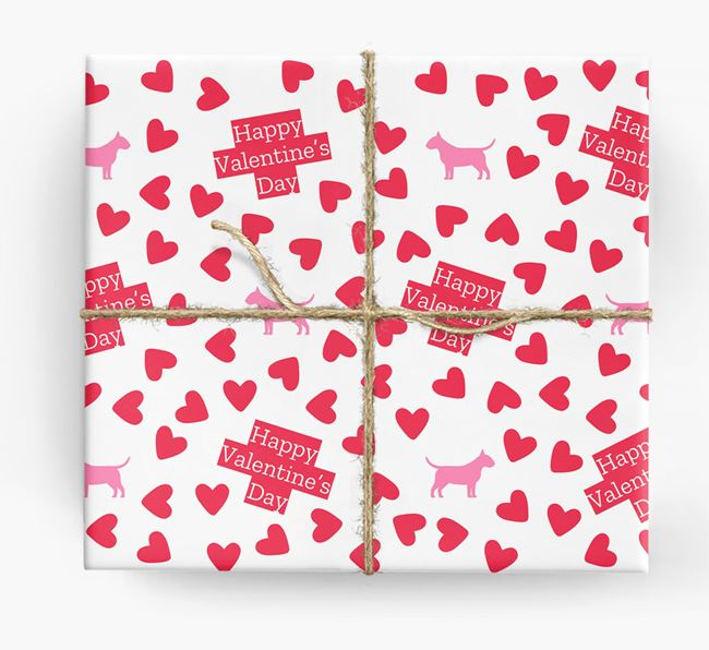 'Happy Valentine's Day' Wrapping Paper with Bull Terrier silhouettes
