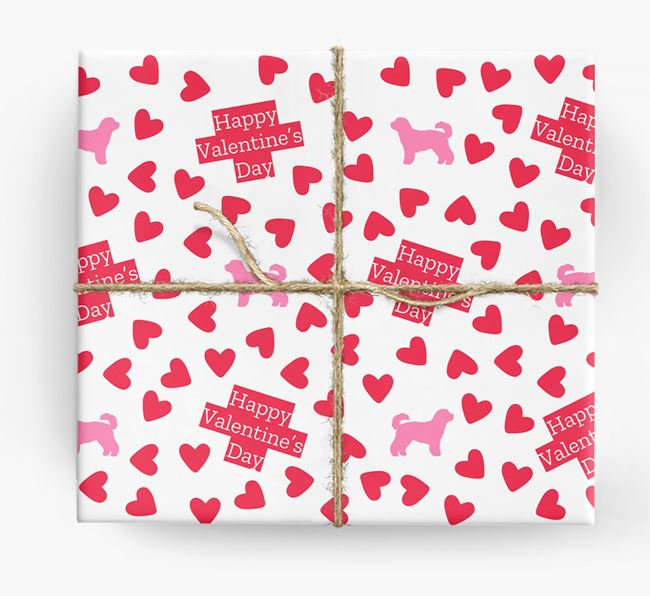 'Happy Valentine's Day' Wrapping Paper with Cavachon silhouettes