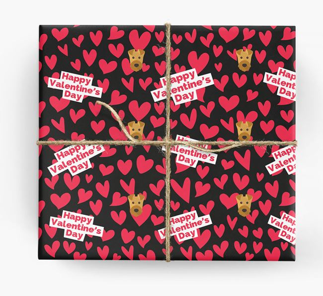 'Happy Valentine's Day' Wrapping Paper with Airedale Terrier Icons