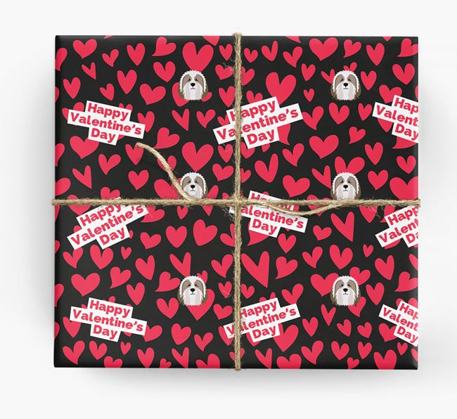 'Happy Valentine's Day' Wrapping Paper with Bearded Collie Icons