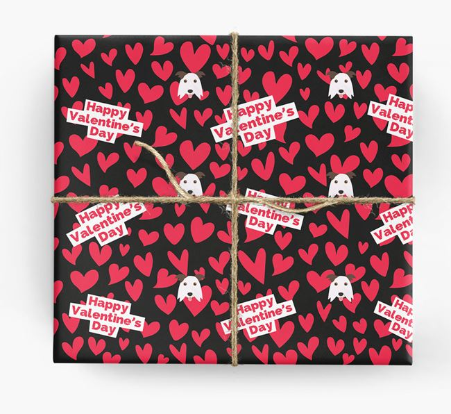 'Happy Valentine's Day' Wrapping Paper with Border Collie Icons