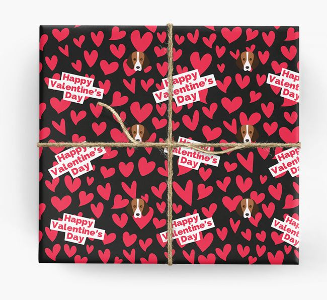 'Happy Valentine's Day' Wrapping Paper with Foxhound Icons