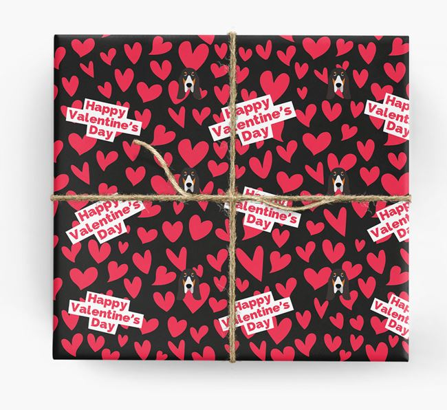 'Happy Valentine's Day' Wrapping Paper with Grand Bleu De Gascogne Icons