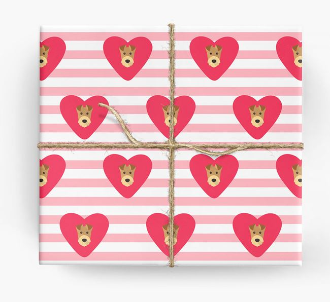 Wrapping Paper with Hearts and Airedale Terrier Icons