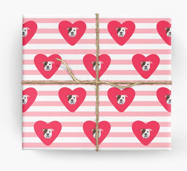 Wrapping Paper with Hearts and American Bulldog Icons