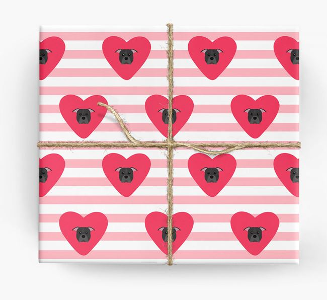 Wrapping Paper with Hearts and American Pit Bull Terrier Icons