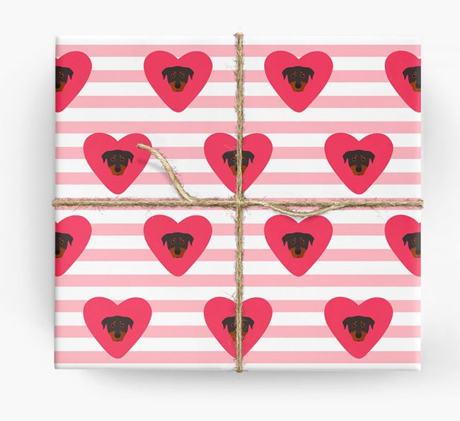 Wrapping Paper with Hearts and Beauceron Icons
