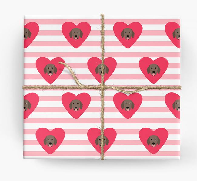 Wrapping Paper with Hearts and Flat-Coated Retriever Icons