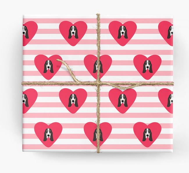 Wrapping Paper with Hearts and Grand Bleu De Gascogne Icons