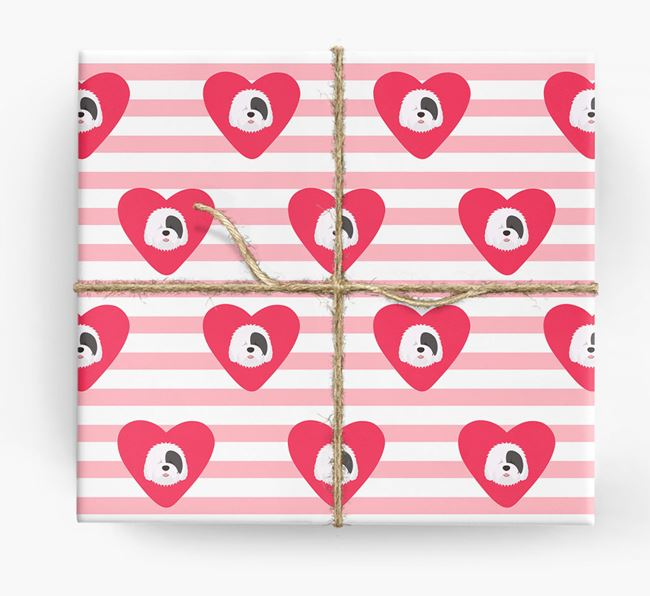 Wrapping Paper with Hearts and Old English Sheepdog Icons