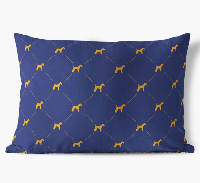 Airedale Silhouette Diamond Pattern Faux Suede Cushion