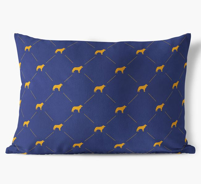 Border Collie Silhouette Diamond Pattern Faux Suede Cushion