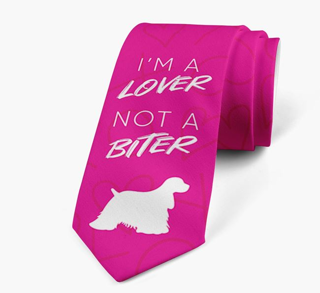 'I'm a lover not a biter' Neck Tie with  American Cocker Spaniel Silhouette