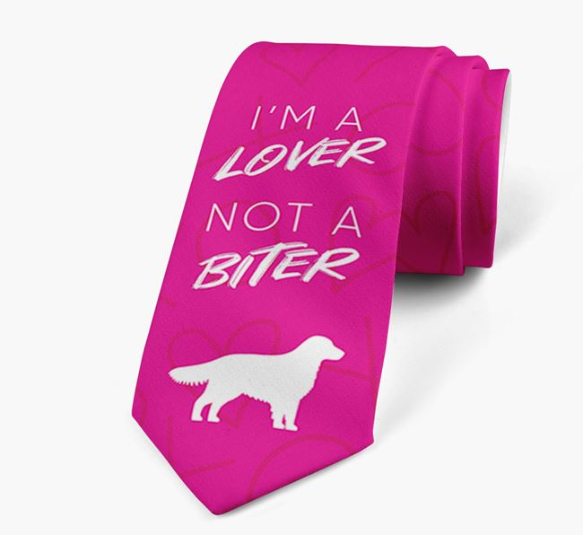 'I'm a lover not a biter' Neck Tie with  Golden Retriever Silhouette