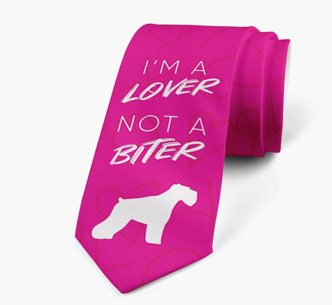 'I'm a lover not a biter' Neck Tie with  Miniature Schnauzer Silhouette