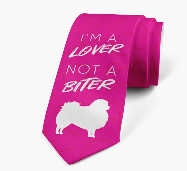 'I'm a lover not a biter' Neck Tie with  Pekingese Silhouette