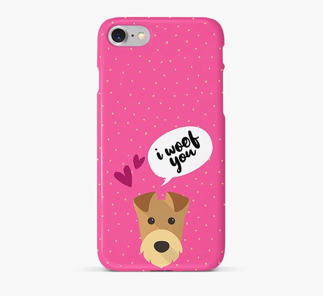 'I Woof You!' Pattern Phone Case with Airedale Terrier Icon